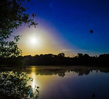 Sun Going Down Over UEA Lake, Norwich, England by Vincent J. Newman