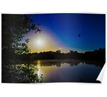 Sun Going Down Over UEA Lake, Norwich, England Poster