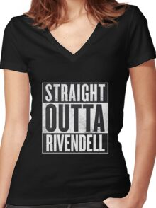 Straight Outta Rivendell Women's Fitted V-Neck T-Shirt