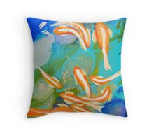 Fish Swimming in Gold Throw Pillow