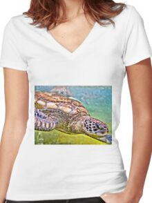Green Turtle Women's Fitted V-Neck T-Shirt