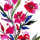 POCKETFUL OF POSIES 1 Bold Colorful Floral Watercolor Painting Red Pink Blue Flowers Art by EbiEmporium