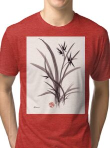 TRUST IN JOY - Original Sumie Ink Wash Zen Bamboo Painting Tri-blend T-Shirt