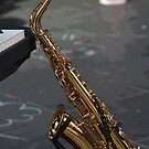 Sax in the mall by Peter Krause