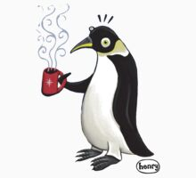 Penguin with hot coffee Kids Tee