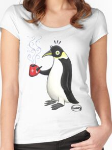 Penguin with hot coffee Women's Fitted Scoop T-Shirt