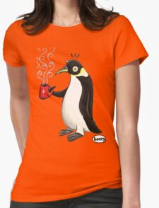 Penguin with hot coffee Womens Fitted T-Shirt