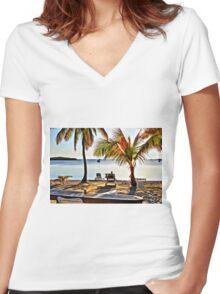 Grabbers, Bahamas Women's Fitted V-Neck T-Shirt