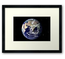 Full Earth showing Europe and Asia Framed Print
