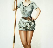 Vintage Female Rower with Oar by pdgraphics
