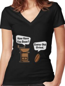 Coffee Bean Grinder Women's Fitted V-Neck T-Shirt