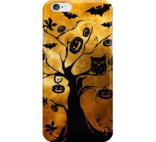 Spooky Full Moon and Tree Silhouette with Bats iPhone Case/Skin
