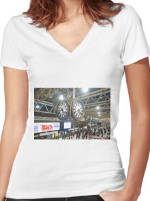 London Waterloo Station Clock Women's Fitted V-Neck T-Shirt