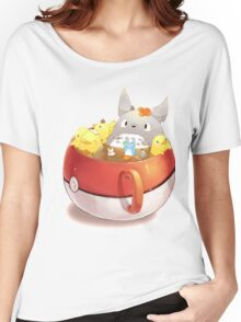 Totoro Neighbor Bath in a Pokeball Cup Women's Relaxed Fit T-Shirt