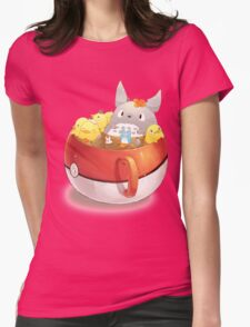 Totoro Neighbor Bath in a Pokeball Cup Womens Fitted T-Shirt