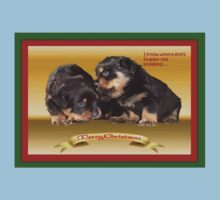 Vector Rottweiler Puppy Christmas Wishes  Kids Tee