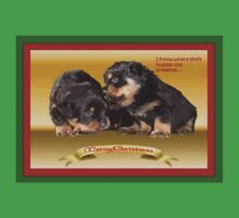 Vector Rottweiler Puppy Christmas Wishes  One Piece - Short Sleeve