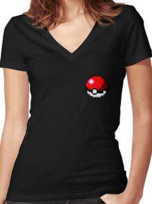 Pokeball 8-Bit Women's Fitted V-Neck T-Shirt