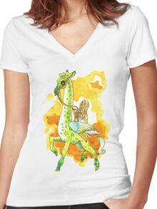 Katie's Flying Giraffe Women's Fitted V-Neck T-Shirt