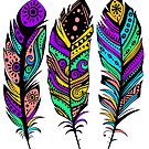 Colorful Tribal Feathers illustration by artonwear