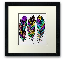Colorful Tribal Feathers illustration Framed Print