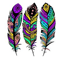 Colorful Tribal Feathers illustration Photographic Print