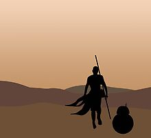 Rey and BB-8 Silhouette  by lizzyhalyard