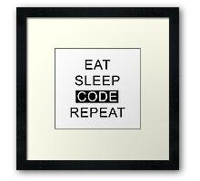 Eat Sleep Code Repeat Framed Print