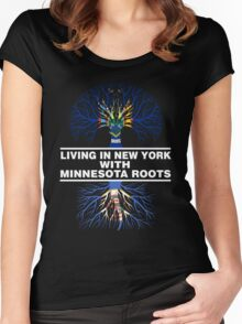 LIVING IN NEW YORK WITH MINNESOTA ROOTS Women's Fitted Scoop T-Shirt