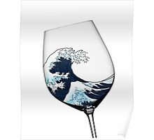 Waves in Wine Glass Poster
