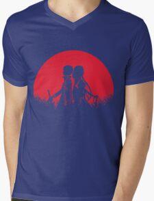 Kirito Asuna Red Moon Mens V-Neck T-Shirt