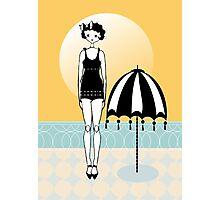 Sunny Beach Umbrella Gatsby Flapper Girl Photographic Print