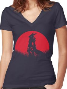 RENAMON RED MOON Women's Fitted V-Neck T-Shirt