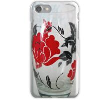 Glass with Red Rose Motif iPhone Case/Skin