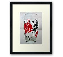 Glass with Red Rose Motif Framed Print