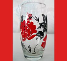 Glass with Red Rose Motif Unisex T-Shirt