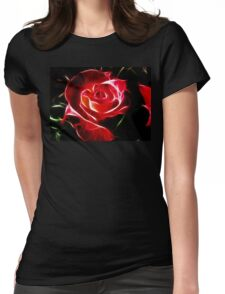 Red Rose Fractalius Womens Fitted T-Shirt