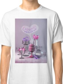 Celebrate Our Love Valentine Hearts Crystal Silver Glasses Classic T-Shirt