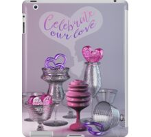 Celebrate Our Love Valentine Hearts Crystal Silver Glasses iPad Case/Skin