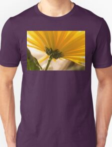 yellow chrysanthemum on a long stem with green leaves T-Shirt