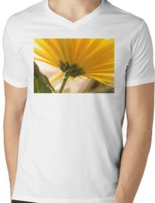 yellow chrysanthemum on a long stem with green leaves Mens V-Neck T-Shirt