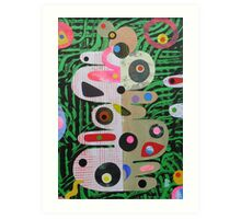 Large Shapes On Green Chaos Art Print