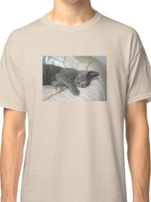Grey Kitten Relaxed On A Bed Classic T-Shirt