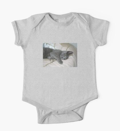Grey Kitten Relaxed On A Bed One Piece - Short Sleeve