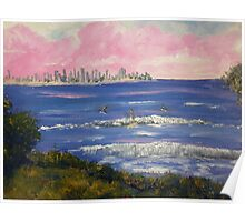 Burliegh Heads Sunrise with Early Morning Surfers Poster
