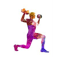 Man exercising weight training workout fitness Photographic Print