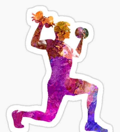 Man exercising weight training workout fitness Sticker