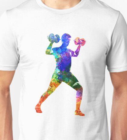 Man exercising weight training Unisex T-Shirt