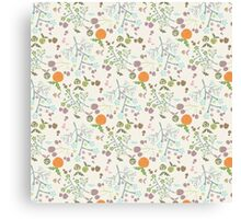 Vintage orange green abstract floral pattern Canvas Print
