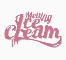 Melting Ice Cream Typography Font Pink Cute One Piece - Short Sleeve